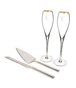 Image of Cathy's Concepts Initial Wedding Champagne Flutes & Cake Serving Set