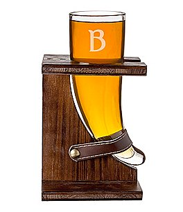 Image of Cathy's Concepts Personalized 16-oz. Glass Viking Beer Horn with Rustic Stand