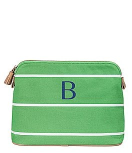 Image of Cathy's Concepts Green Tasseled Initial-Embroidered Striped Canvas Cosmetic Bag