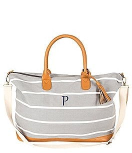 Image of Cathys Concepts Tasseled Initial Striped Canvas Oversized Weekender Tote