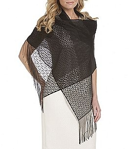 Image of Cejon Metallic Crocheted Fringe Metallic Evening Wrap