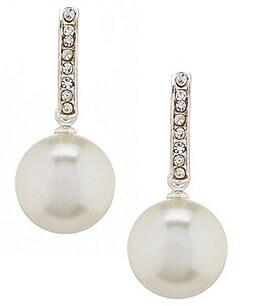 Image of Cezanne Faux-Pearl Drop Rhinestone Half Hoop Earrings