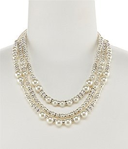 Image of Cezanne Triple-Row Mixed Faux-Pearl Statement Necklace