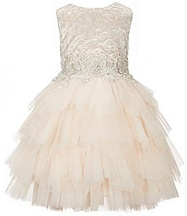 Image of Chantilly Place Little Girls 2T-6X Sleeveless Embroidered-Bodice Tiered Ruffled Tulle Skirt Dress