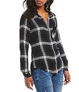 Image of Chelsea & Violet Two Pocket Plaid Button Down