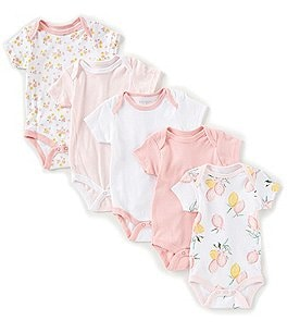 Image of Chick Pea Baby Girls Newborn-9 Months Lemon-Print/Floral/Solid Bodysuit 5-Pack