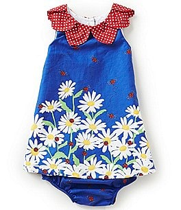 Image of Counting Daisies Baby Girls 12-24 Months Daisy-Border-Printed Dress