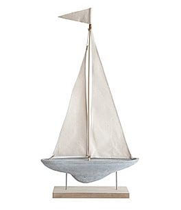 Image of Creative Co-op Coastal & Lake Collection Cement Sail Boat Decor