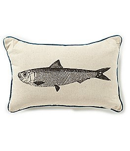 Image of Creative Co-op Coastal & Lake Collection Fish Teal Pillow