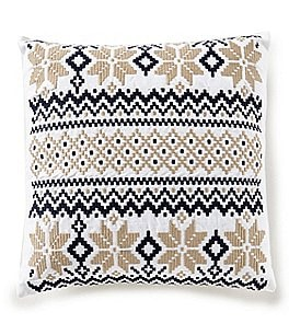 Image of Cremieux Warm Shop Collection Nordic Fair Isle-Embroidered Square Pillow