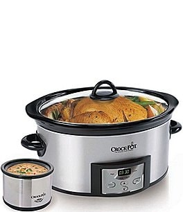Image of Crock Pot Stainless Steel 6-Quart Slow Cooker with Little Dipper Warmer