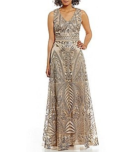 Image of David Meister Vintage V-Neck Metallic Embroidered Gown