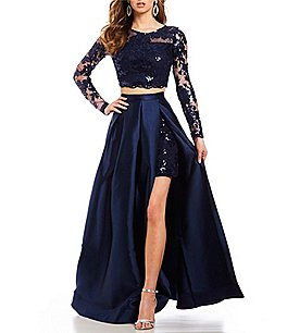 Image of Dear Moon Long Sleeve Sequin Lace Top Two-Piece Dress