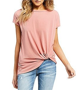 Image of Double Zero Knot Front Short Sleeve Top