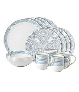 Image of ED Ellen DeGeneres Crafted by Royal Doulton Polar Blue Dots Collection 16-Piece Porcelain Dinnerware Set