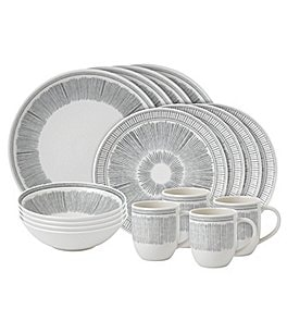 Image of ED Ellen DeGeneres Crafted by Royal Doulton 16-Piece Grey Lines Collection Dinnerware Set