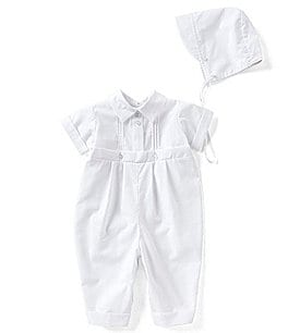 Image of Edgehill Collection Baby Boy Newborn-12 Months Pin Tucked Christening Coverall