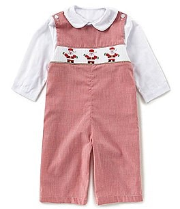 Image of Edgehill Collection Baby Boys 3-24 Months Christmas Santa Overall & Button-Front Shirt Set