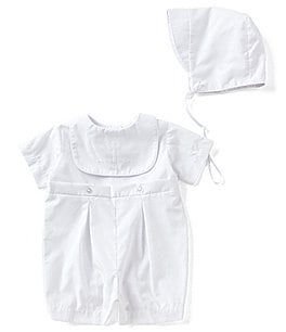 Image of Edgehill Collection Baby Boys Newborn-12 Months Christening Shortall & Matching Hat Set