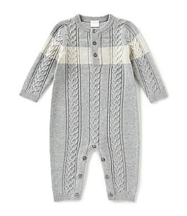 Image of Edgehill Collection Baby Boys Newborn-6 Months Long Sleeve Sweater Knit Coveralls