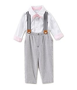 Image of Edgehill Collection Baby Boys Newborn-6 Months Textured Woven Shirt, Bow-Tie, Suspenders, Pants Set