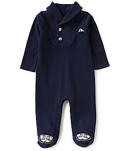 Image of Edgehill Collection Baby Boys Preemie-6 Months Shawl-Neckline Long-Sleeve Footed Coverall