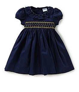 Image of Edgehill Collection Baby Girls 3-24 Months Smocked Short-Sleeve Dress