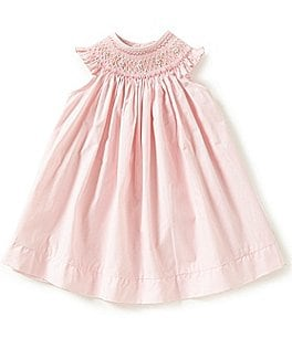 Image of Edgehill Collection Baby Girls 3-9 Months Bishop Smocked Embroidered Dress