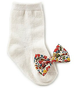 Image of Edgehill Collection Baby Girls Bow Socks Made with Liberty Fabrics