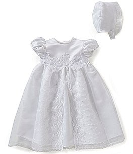 Image of Edgehill Collection Baby Girls Newborn-12 Months Flower Christening Gown and Bonnet Set