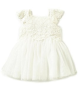 Image of Edgehill Collection Baby Girls Newborn-24 Months Crochet Detailed Bow Dress