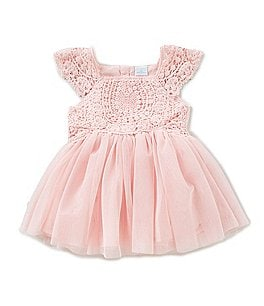Image of Edgehill Collection Baby Girls Newborn-24 Months Rose Crochet Dress
