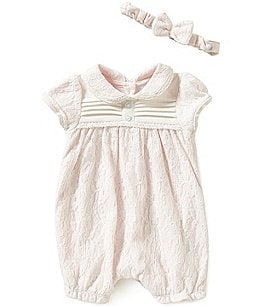 Image of Edgehill Collection Baby Girls Newborn-6 Months Lace Romper and Headband Set