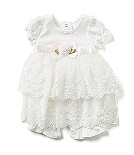 Image of Edgehill Collection Baby Girls Newborn-6 Months Lace Romper