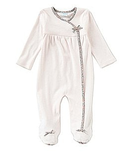 Image of Edgehill Collection Baby Girls Newborn-6 Months Made With Liberty Fabrics Footed Coveralls