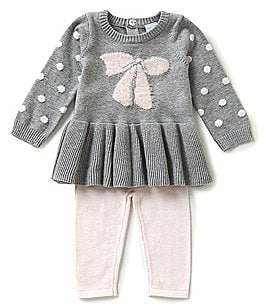 Image of Edgehill Collection Baby Girls Newborn-6 Months Sweater Knit Top & Pants Set