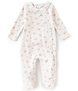 Image of Edgehill Collection Baby Girls Preemie-6 Months Floral Print Ruffle Footed Coveralls