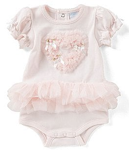 Image of Edgehill Collection Baby Girls Preemie-6 months Heart Ruffled Tutu Bodysuit