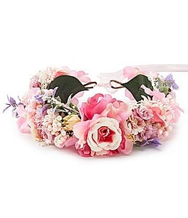 Image of Edgehill Collection Little Girls Adjustable Flower Wreath Headwrap