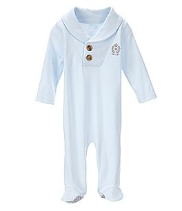 Image of Edgehill Collection Baby Boys Newborn-6 Months Shawl Collar Footed Coverall