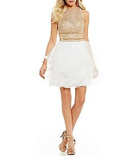 Image of Ellie Wilde Chain Lace Top to Tulle Two-Piece Dress