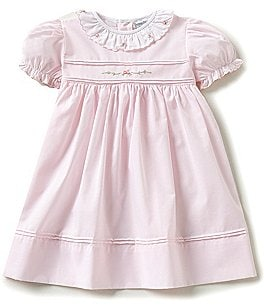 Image of Friedknit Creations Baby Girls 12-24 Months Ruffled Scallop Rose Embroidered Smocked Dress