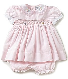 Image of Friedknit Creations Baby Girls 3-9 Months Floral Embroidered Smocked Dress