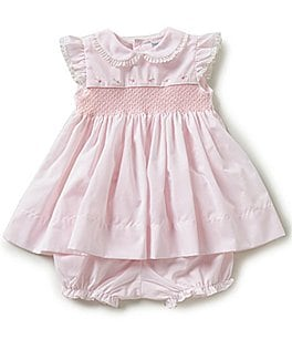 Image of Friedknit Creations Baby Girls 3-9 Months Flutter Sleeve Smocked Dress