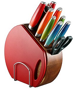 Image of Fiesta 12-Piece Ombré Cutlery Set with Block & Cutting Board