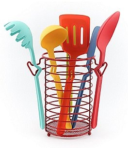 Image of Fiesta 7-Piece Multicolor Silicone Kitchen Utensil Set with Caddy