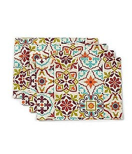 Image of Fiesta Festive Fall Worn Tile Placemat Set of 4