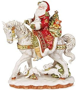 Image of Fitz and Floyd Damask Holiday Santa on Horse Figurine
