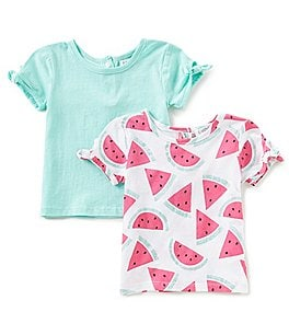 Image of Flapdoodles Baby Girls 12-24 Months 2-Pack Printed Tie-Sleeve Tee Set