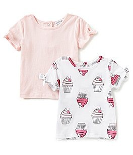 Image of Flapdoodles Baby Girls 12-24 Months Printed Tie-Sleeve 2-Pack Tee Set